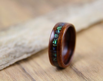 Santos Rosewood Bentwood Ring with Paua Shell Inlay - Handcrafted Wooden Ring