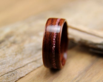 Bentwood Ring - Breast Cancer Awareness - Kingwood with Offset Pink German Glass Glitter Inlay- Handcrafted Wooden Ring
