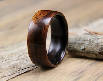 Wooden Ring - Handcrafted Bentwood Ring - Santos Rosewood line with Macassar Ebony - Wood Ring