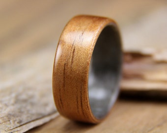 Hawaiian Koa lined with Grey Maple Bentwood Ring - Handcrafted Wooden Ring