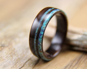 Bentwood Ring - Ebony with Turquoise and Lapis Lazuli Edgelay - Handcrafted Wooden Engagement Ring