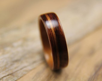 Bentwood Ring - Kingwood lined with Hawaiian Koa with a Koa Inlay - Handcrafted Wooden Ring