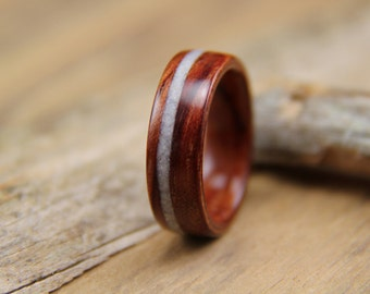 Bentwood Ring - Waterfall Bubinga with Mother of Pearl Inlay - Handcrafted Wooden Ring