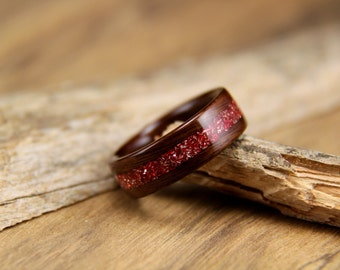 Bentwood Ring - Santos Rosewood with Red German Glass Glitter Inlay- Handcrafted wood ring