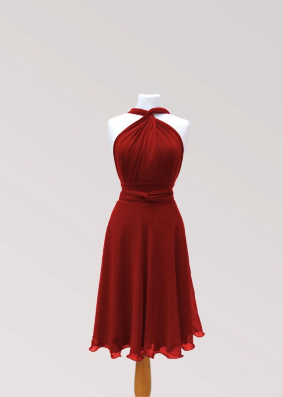e1a99af802e Middle red infinity dress with chiffon skirt wrap dress