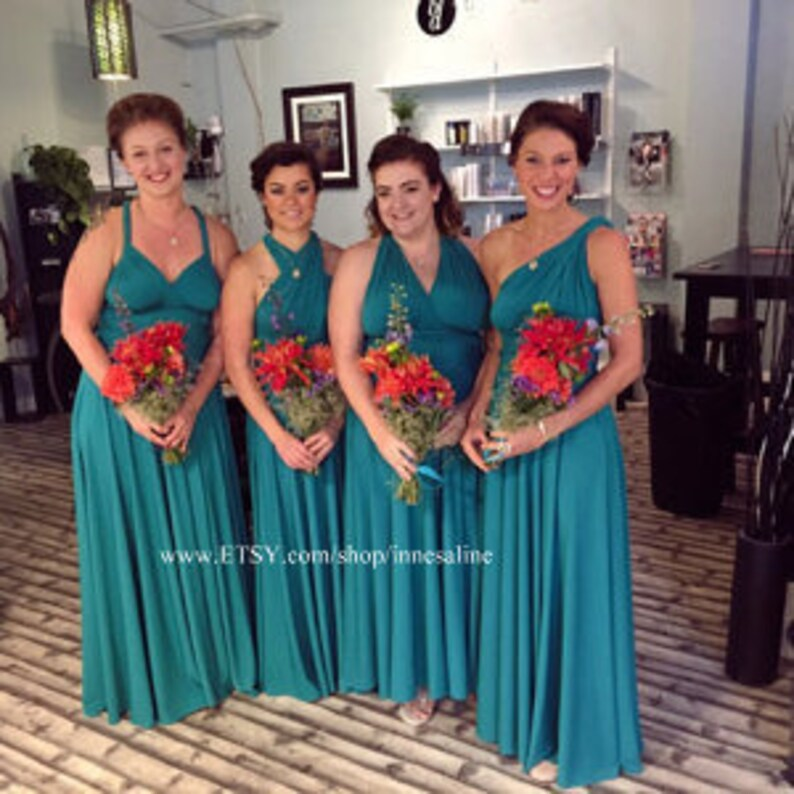 86b1e94bd2f6a Bridesmaids dress Infinity Dress floor length in color teal | Etsy