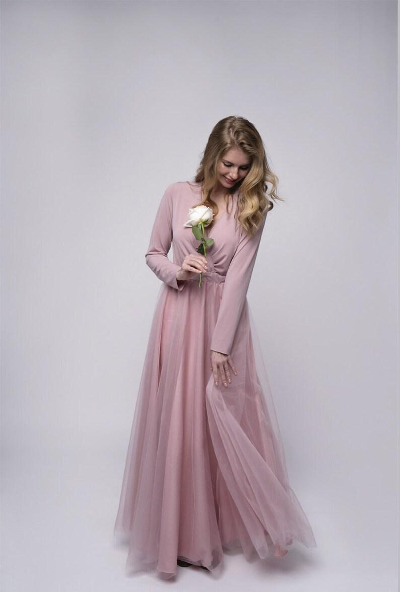 Ärmel Tüll Brautkleid Staub rosa Brautjungfern Maxi-Kleid ...