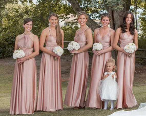 Bridesmaids Dress In Pink Champagne Color Infinity Floor Length Dress With Matching Tube Top