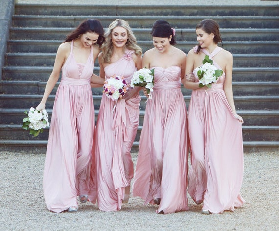 Pastel pink Infinity Dress , Bridesmaids dress , floor length dress with matching tube top