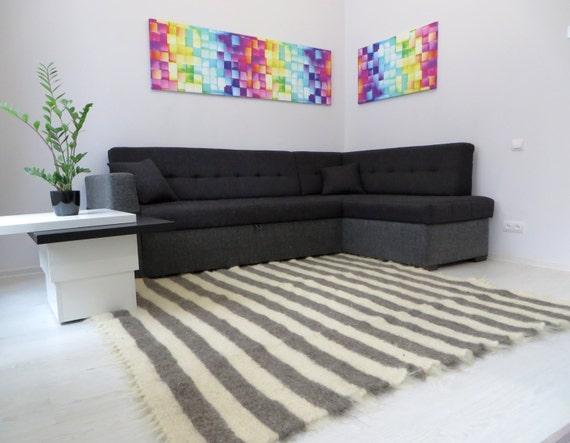 Gestreiften Teppich, Teppich, weiß grau Teppich, Wohnzimmer Teppich,  Wohnzimmer Dekor, skandinavischen Dekor, Teppich Teppich, gewebte Teppiche,  ...