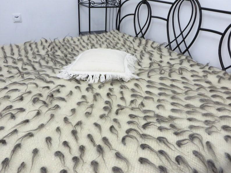 Couverture de jeté de lit laine luxe jette couvre lit tissé | Etsy