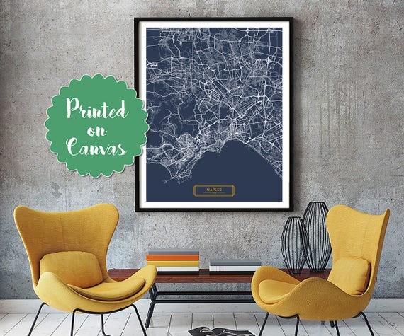 NAPLES Italy CANVAS Large Art City Map Naples Italy Art Print | Etsy