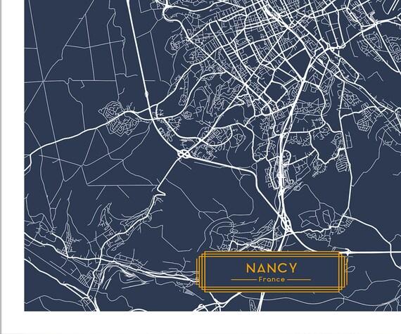 NANCY France CANVAS Large Art City Map Nancy France Art Print poster map  art jt Wall Art Home Decor JackTravelMap