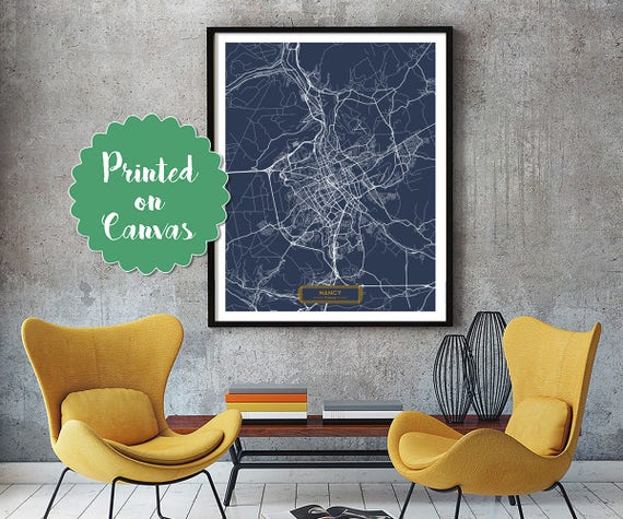 NANCY France CANVAS Large Art City Map Nancy France Art Print | Etsy