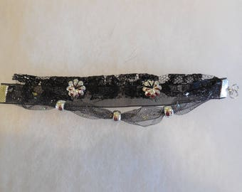 Lace, organza and beads, black and silver bracelet