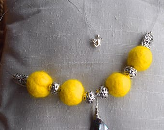 Yellow Fiber Bead Statement Necklace