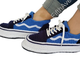 19a3013ffbfe07 Crochet Knit Style Old Skool Black Navy Blue Knitted Home Shoe