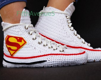 Crochet Converse Shoes Blue Authentic DC Comics Superman | Etsy
