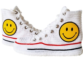 Smiley Face Soft Crochet Comfy Warm Slip-On Slippers, Cute Funny Warm Emoji Home Slippers Cartoon Plush Shoes, Sneakers Custom Converse Sock