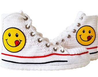 Classic Women  Canvas Shoes Emoji Smiley Face Men Casual Sneakers, Custom Converse High Top Shoes Emoji Sneakers Slippers, Cotton Plush Soft