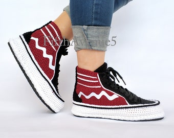 new product 0d34f 62b80 Crochet Style X Real Black and Raısın Red Knitted House Shoe, Breathable  Comfortable Home Type Sneakers, Mild Crochet Home Slippers