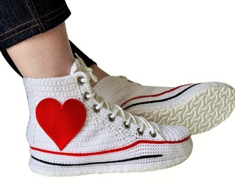 Love Heart Patch Logo Cotton Sneakers In White, High Top Crochet Custom Home Sneakers Slippers, Cute Cotton Funny Design Socks for Women