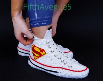 10fb1cc560ed Knitting Crochet Converse Chuck Taylor All Star Hi Supermen Sneaker