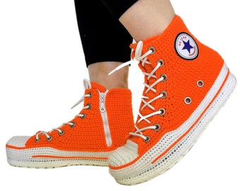 Orange Converse Sneakers Custom Crochet  Knitted Slippers, Handmade Personalized Design Home Shoes, Soft Comfortable Breathable Slippers
