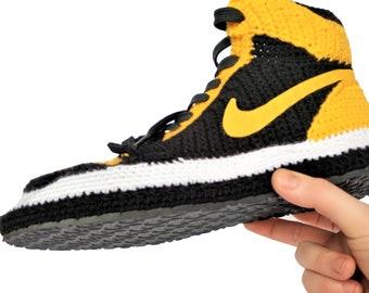 Air jordan 1 Mid New Love Hanmade Custom Crochet Sneakers For Adults Knitted Slippers, indoor plush slipper mens/womens custom Yellow shoes