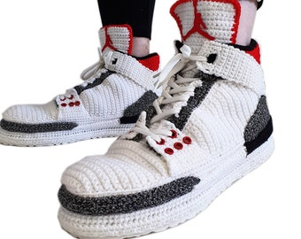 Air Jordan 3 Retro Se Red Denim Crochet Home Slippers, Custom Sneakers Basketball Shoes, Knitting Indoor Soft Warm Plush Bedroom Booties