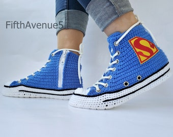 711b350d2e321f Crochet Converse Shoes Blue Authentic DC Comics- Superman Chuck Taylor All  Star Womens Mens Canvas Sneakers Hi Tops