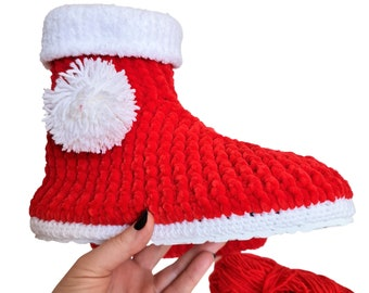 Christmas Stocking Pompom Cozy Holiday Knit Slippers Socks, Red Wool Fuzzy Non Slip Fleece Lining Knitting Winter Warm Soft Shoes, Grinchmas