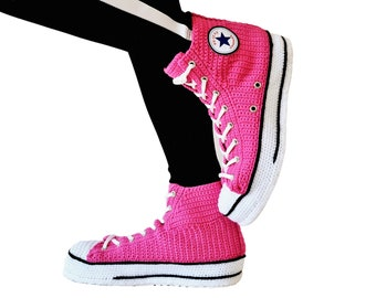 Home Slipper Converse Style  Women's Soft Fleece Plush Warm Indoor House Boots Shoes, Canvas Shoes Fuchsia Slip On Slippers Men's Sneakers