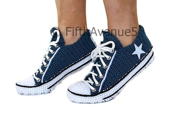 Crochet Knitted Navy Converse Low Top Slippers 989c053bf
