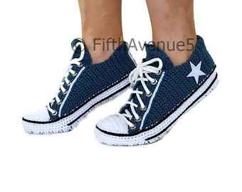 727a4a634ff Crochet Knitted Navy Converse Low Top Slippers