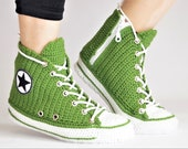 Knitted Green Converse Slippers For Men And Women, Converse Style Slippers For Home Wear, Chuck Taylor Classic Colour High Top Green, GCSHTS