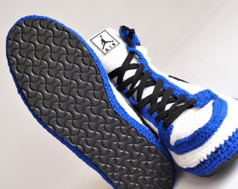 90e1ece778d Crochet Style Air Jordan 1 Retro High OG BG Storm Blue Slipper, Air jordan  Blue Knitting Sneaker, Air Jordan Flyknit Crochet Slippers, BAJ1