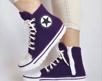 3947240b8871df ... coupon code for crochet purple converse slipper crochet house slippers  for women converse knitting converse booties