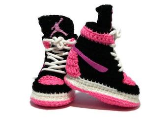 5a29140cf4e3 Crochet Baby Air jordan infant Girl Pink Sneakers Newborn Soft Shoes  Slippers