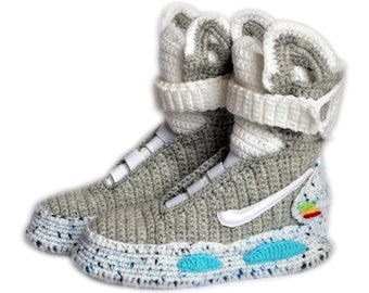 best sneakers 71c1a 18ba9 Back To The Future Custom Air Mag Crochet Shoes, Marty McFly Air Mag  Knitted Slippers, Knitting Air Mag Custom Slippers, Cosplay Shoes, BTFA