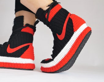eb9654da7ac Crochet Air Jordan 1 Retro Home Shoe, Air Jordan Basketball Shoes, Air  Jordan Flyknit Slippers, Crochet Slippers, Jordan Shoes Gift, AJ1RABS