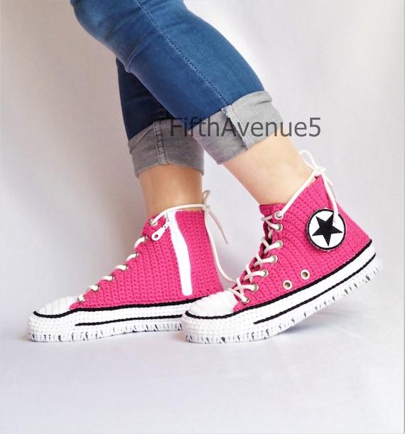 baa1d250647a Crochet Converse All Star High Top Fuchsia Glow Slippers