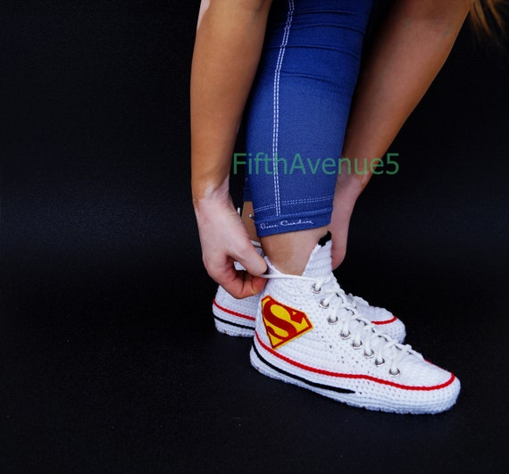 Knitting Crochet Converse Chuck Taylor All Star Hi Supermen Sneaker, Supermen WomensMens Shoes, Cosplay Superman Shoes, White Converse Gift