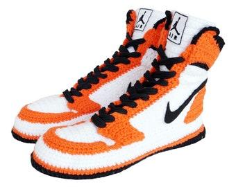 Custom Air Jordan 1 Retro High Orange Crochet Style Slippers, Air Jordan 1 Retro High OG Men's And Women's Basketball Shoes, NAJROS