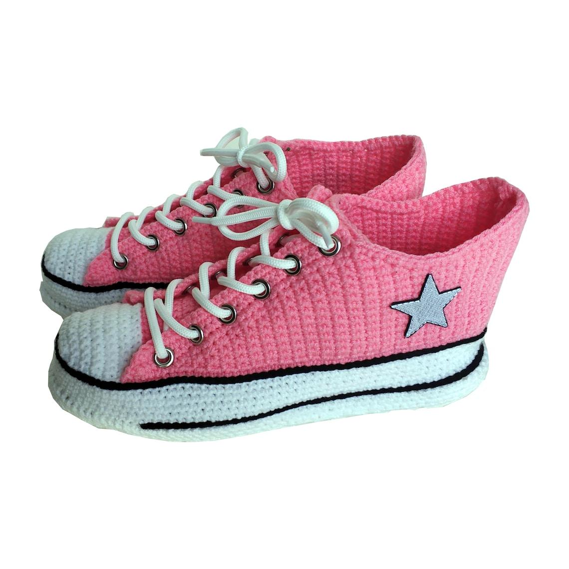 Hecho a mano invierno cálido lindo casa converse rosa punto zapatillas mujeres interior moda suave cómodas señoras punto Slip-on Custom Botines personalizados