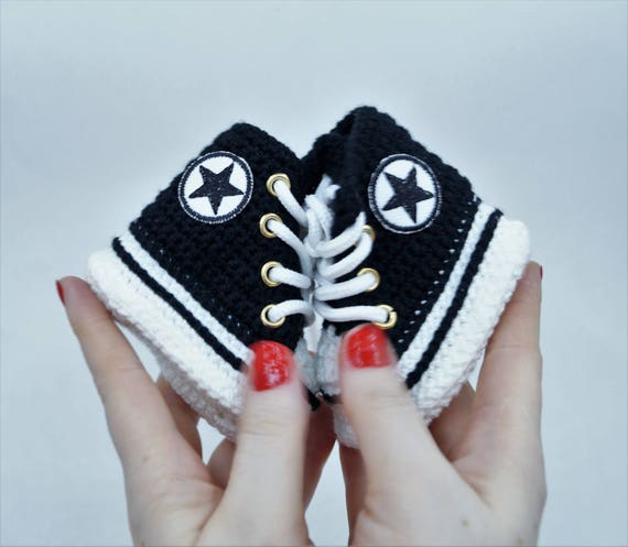 Black Baby Shoes Converse Crochet Baby Converse Baby Shower Etsy