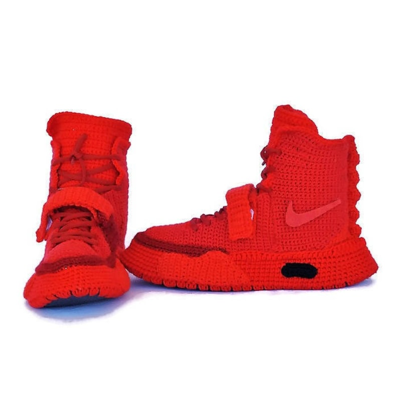 c30b11931 Crochet Air Yeezy 2 Red October Knitted Slippers Air Yeezy 2
