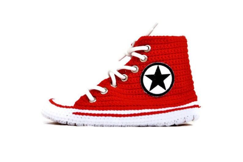 48a8771ea4fe Knitting Red Converse Crochet Slippers Hi Top Adult Crochet