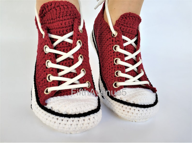 9fb89bff97ed7b Crochet Handmade Embroidered Converse Low Top Maroon Color Comfortable Home  Slippers for Men and Women