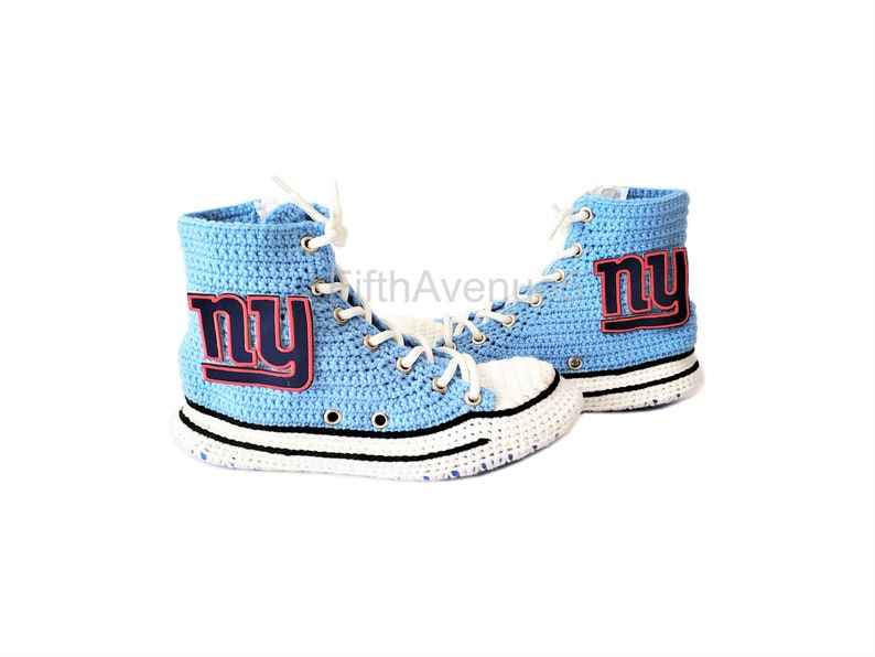 1681c4b3 New York Giants High Top Converse Sneaker Slippers, Mens and Womens NFL  Sneaker Slippers, Comfy Feet Happy Feet Knit High Boot Slippers